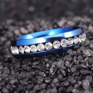 Jewelry - Dark Blue Stainless Steel Clear Crystal Ring